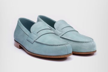 JM Weston Le Moc Loafer In Light Blue Nubuck
