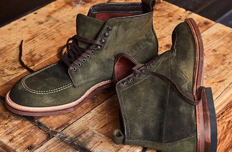 Todd Snyder Alden Indy Boot Green Reverse Chamois